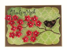 Thank you card, Thanks so much, Bird Card, Red Flowers by CardamomsArt on Etsy