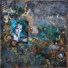 """Entry to September / October 2016 challenge """"Steampunk"""" by Virag Reti Scrapbook Sketches, Scrapbook Page Layouts, My Scrapbook, Mixed Media Canvas, Mixed Media Art, Mix Media, Multimedia Arts, Mixed Media Scrapbooking, Photo Layouts"""