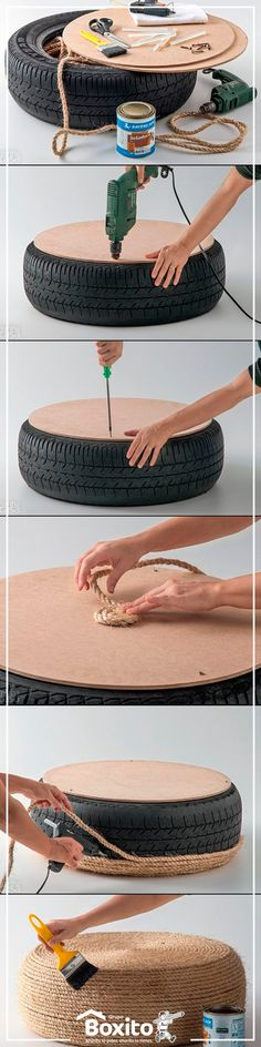 Turn your old tires into a usable DIY coffee table! Home Projects, Home Crafts, Diy And Crafts, Craft Projects, Diy Bedroom Decor, Diy Home Decor, Diy Ottoman, Burlap Ottoman, Ottoman Table