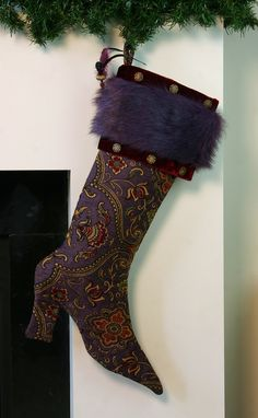 One-of-a-kind Steampunk-style Fantasy Christmas Stocking in purple/ red and gold tapestry with red velvet, purple faux fur and a hat-pin.