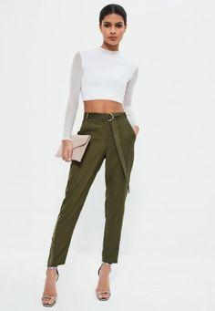 Khaki Satin Side Zip Hem Cigarette Trousers