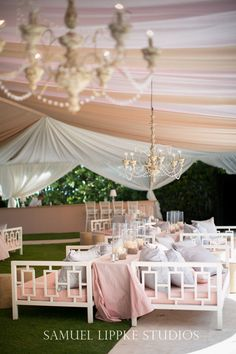 Wedding Tent Decor....love the sofas! Except not the color scheme, maybe whites and neutrals for a luxe look. Sofas make it seem more like a relaxed and inviting environment with fun cause not everyone wants to dance the entire time.