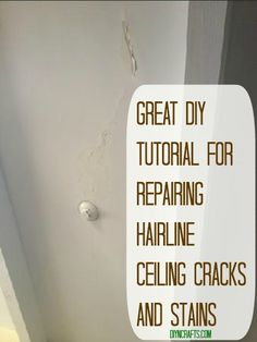 Great DIY Tutorial for Repairing Hairline Ceiling Cracks and Stains - Water marks are a pain to cover unless you want to paint your entire ceiling. Even worse are those hairline cracks in the paint that you just can't get rid of – again unless you want to take the time to paint your entire ceiling. There actually is an easier way.