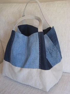 Recycled Denim Bag, Large Shoulder Canvas Bag with Handstitched Embroidery . - Recycled Denim Bag, Large Shoulder Canvas Bag with Handstitched Embroidery and Vintage Buttons Deco Sewing Jeans, Diy Jeans, Reuse Jeans, Jeans Recycling, Denim Tote Bags, Canvas Tote Bags, Denim Purse, Denim Bags From Jeans, Denim Handbags