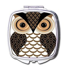 Cute Cartoon Owl Pocket Compact Mirror Portable Beauty Accessories