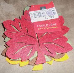 Homewear Harvest Table Linens, Maple Leaf Felt Coasters Set of 4 - F7465-CSTRS #Homewear