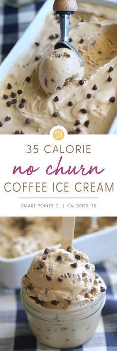No Churn Espresso Ice Cream- low calorie with no refined sugar,  made with just a few ingredients! | Dashing Dish