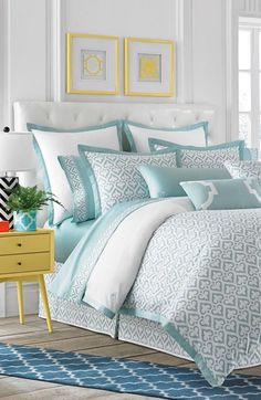 Absolutely adoring this crisp and elegant bedroom set with pops of pastel color. - Home - Bedroom Home Bedroom, Master Bedroom, Bedroom Decor, Bedroom Ideas, Draps Design, Coastal Bedrooms, Elegant Home Decor, Beautiful Bedrooms, Beautiful Wall