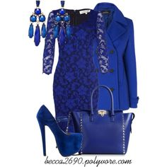 """""""All Blue"""" by becca2690 on Polyvore...all blue everything is unnecessary, but i like the dress."""