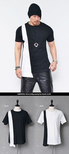 Tops :: Edge Triangle Extended Contrast Round-Tee 520 - Mens Fashion Clothing For An Attractive Guy Look