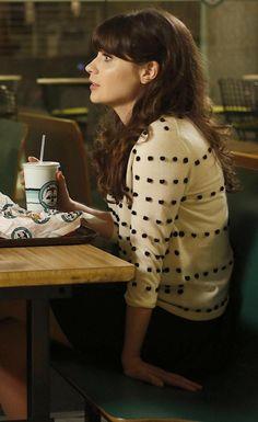 White polka dot / tiny pom pom sweater on New Girl