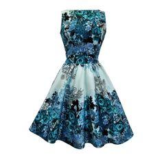 Lady V London Teal Rose Floral Collage Tea Retro šaty ve stylu 50. let. Jedinečné a naprosto dokonalé šaty jako stvořené pro svatby, oslavy, párty či večírky. Podklad světlounce modrý s lehkým nádechem lesku dodá šatům na jejich slavnostním vzhledu, výrazný do modro-tyrkysova laděný květinový vzor zajistí, že budete ozdobou každé společenské akce. Příjemný pružný materiál (97%, 3% elastan), pohodlný střih s lodičkovým výstřihem, vzadu lehce vykrojené se zapínáním na zip a vázačkou zajistí…