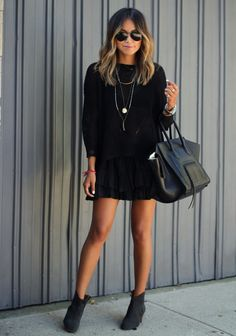 All black. Dress, booties, sunglasses, and oversized purse!