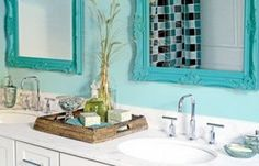lovely light blue master bathroom with white accents and bright blue framed mirrors. Small Bathroom Ideas: Trendy Bathroom Mirror Updates from Bathroom Bliss by Rotator Rod Bathroom Vanity Decor, Small Bathroom, Bathroom Ideas, Bath Ideas, Bathroom Tray, Bathroom Colors, Bathroom Pink, Bathroom Stuff, Wooden Bathroom