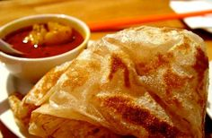 """Roti canai Roti Canai is a very popular bread delicacy in Malaysia. The word """"roti"""" actually means bread in Malay while the word """"canai"""" me. Malaysian Cuisine, Malaysian Food, Malaysian Recipes, Roti Canai Curry Sauce Recipe, Curry Recipes, Asian Recipes, Chinese Recipes, Roti Recipe Indian, Food Photo"""