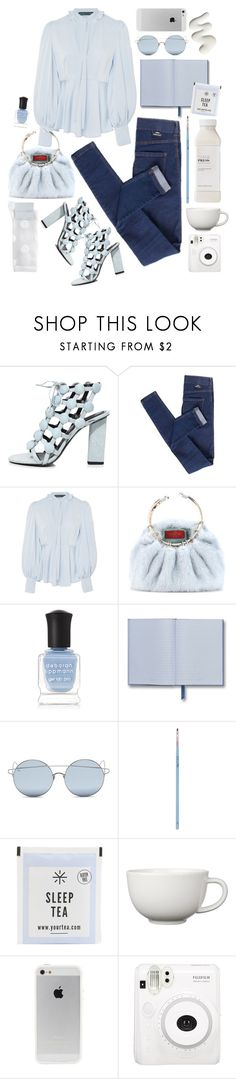 """""""Blue + Blue"""" by cherieaustin ❤ liked on Polyvore featuring Alexander Wang, Dr. Denim, AlexaChung, Valentino, Deborah Lippmann, For Art's Sake, My Kit Co., Arabia and Hansel from Basel"""