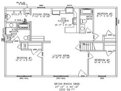 One story ranch style house plan Needs about 500 sq ft more, but I could see it. Ranch Home Floor Plans, Farmhouse Floor Plans, Metal Building House Plans, Building Plans, Basement House Plans, Simple House Plans, Ranch Style Homes, Ranch Homes, Story House