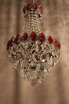 Vintage Antique Art Nouveau Crystal 19th century Chandelier Light Brass Old Lamp