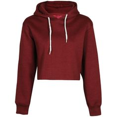 Cameron Marl Brush Cropped Hoody ($12) ❤ liked on Polyvore featuring tops, hoodies, shirts, sweaters, jackets, crop, t shirt hoodie, red top, red hoodies and henley shirt