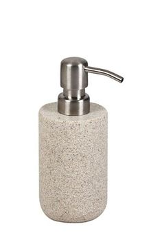 """If you are looking to accent your bathroom with a natural look, this resin soap dispenser has a sandstone finish for an earthy aesthetic. The spout is easily removable for refilling.<div class=""""pdpDescContent""""><BR /><b class=""""pdpDesc"""">Dimensions:</b><BR />L7.5xW7.5xH17 cm</div>"""