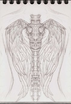Angel wing/skeleton spine tattoo