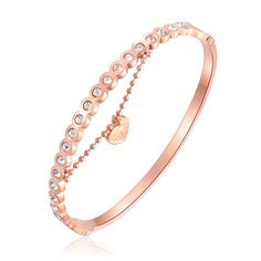 Korean fashion rose gold plating furnace with half circle drill drill female all-match simple bracelet bracelet