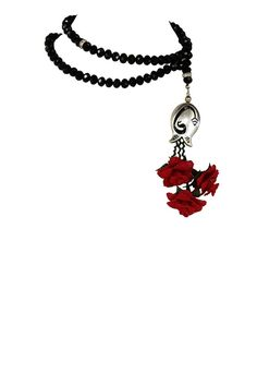 """""""Emine: Honesty"""" Rosary in Black with Red Roses"""