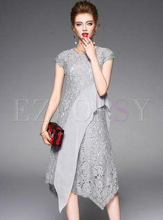 #Ezpopsy - #Ezpopsy Grey Mesh Asymmetric Patch Skater Dress With Underskirt - AdoreWe.com