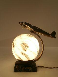 ART DECO AIRCRAFT/AIRPLANE LAMP LOCKHEED CONSTELLATION/DE HAVILLAND ALBATROSS