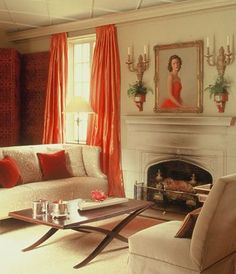 [tangerine tango] l ballarddesigns.com::: I think coral or tangerine will be our new living room accent color!