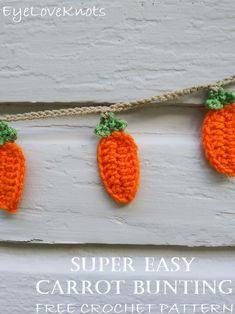 Super Easy Carrot Bunting – Free Crochet Pattern from EyeLoveKnots All Free Crochet, Crochet Bebe, Double Crochet, Single Crochet, Easter Crochet Patterns, Crochet Crafts, Crochet Projects, Crochet Ideas, Crochet Garland