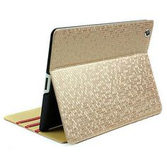 Luxury Bling PU Leather Smart Cover Case Skin Stand Gold for Apple iPad 2/3/4
