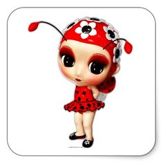 Little Miss Ladybug Square Stickers $5.60 per sheet of 6.
