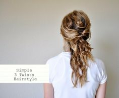 Hairstyle Tutorial – Simple 3 Twists Hairstyle