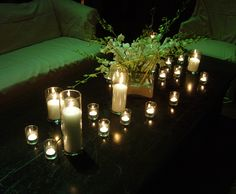 Candles + Flowers /// #candles #flowers #green #white #night #lighting #eventuresinc