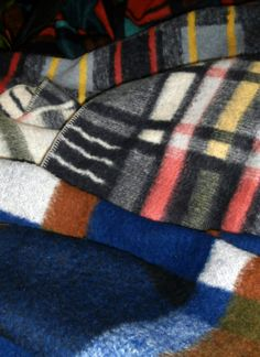 old colourful blankets from the 50s
