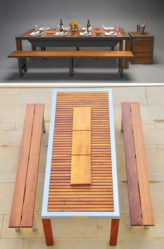This Outdoor Table Has A Built-In BBQ Grill - This outdoor table / grill combination makes summer bbqs an entertaining event. Barbecue Grill, Built In Bbq Grill, Grilling, Outdoor Tables, Outdoor Decor, Eco Design, Grill Table, Outdoor Kitchen Design, Garden Table