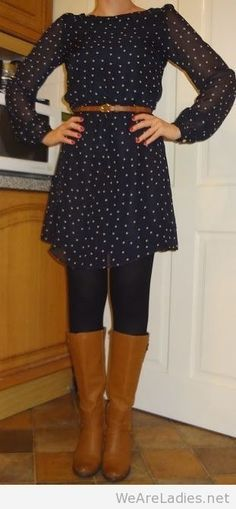 I like the dress with leggings and boots. It looks great belted. Maybe a necklace as well?