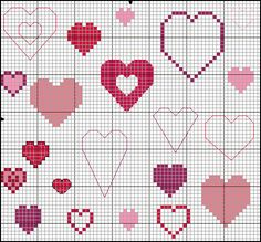 Free pattern - different hearts