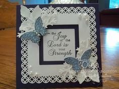 punch around the white card; make navy background slightly larger; stack the butterflies & leaves/bows