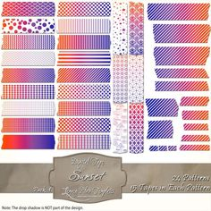360 pieces of sunset colors & white digital tape (24 patterns in 15 different sizes) Files are PNG with a transparent background.  The tapes are great for blogging, scrapbooks, cards, invitations, and more... $4.75 #digital, #tape, #washi, #patterns, #chevron, #checks, #stripes, #polka dots, #damask, #Moroccan, #argyle, #purple, #blue, #red, #sunset, #white, #scrapbooking, #cards