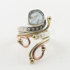Aquamarine Rough Cut Three Tone Sterling Silver Adjustable Ring