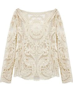 Beige Long Sleeve Hollow Crochet Lace Blouse US$29.03