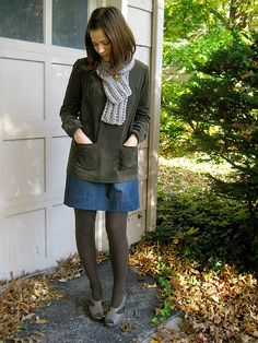 cord hemställe top + denim alison skirt + hand knitted scarf