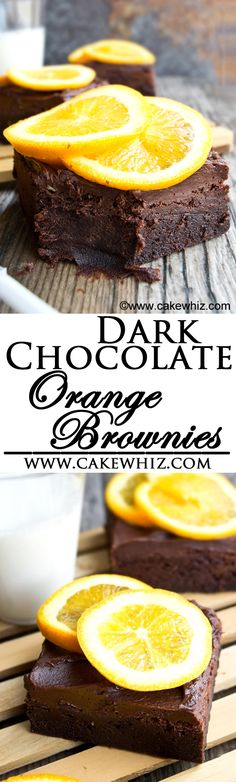 These rich and fudgy DARK CHOCOLATE ORANGE BROWNIES are topped off with chocolate fudge frosting. They are made with both, chocolate chips and cocoa powder plus lots of orange zest! Perfect citrus dessert for Spring and Summer time! From cakewhiz.com
