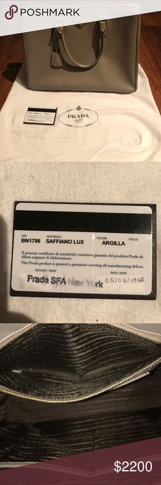 Prada Saffiano Prada Saffiano, Medium, Gray. This bag has only been used a few times. Looks Brand New!! No Marks! I had the sides reinforced professionally with leather so it would stand up straight. Prada Bags Satchels
