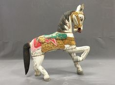 Large vintage hand painted hand carved wooden Folk Art horse