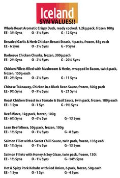 29 Best Iceland Foods Syns Images Slimming World Syns