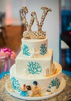 BEACH WEDDING CAKE Topper Nautical Large Crushed Seashell Summer Wedding Bride Groom Rustic