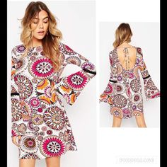 """NWT Boho Bell Sleeves Dress Sz 4 Lightweight stretch jersey Round neckline Flared cuffs Open back with self-tie fastening  Relaxed fit Machine wash 95% Viscose, 5% Elastane Our model wears size 4 and is 5'7"""" tall Dresses Long Sleeve"""